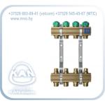 """Распределитель с профилем 1"""" для напольного отопления с регулирующими вентилями на обратке и с вентилями для сервоприводов (серия 71A)"""