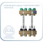 """Распределитель с профилем 1"""" для напольного отопления с вентилями для сервоприводов и расходомерами (серия 75A)"""